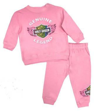 Harley-Davidson Baby Girls' 2-Piece Newborn Fleece Jogger Set,Light Pink 2000898 - Wisconsin Harley-Davidson