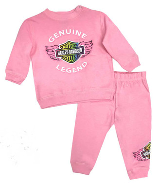 Harley-Davidson Baby Girls' 2-Piece Newborn Fleece Jogger Set,Light Pink 2000898 - Wisconsin Harley-Davidson