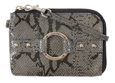 JENTOU Women's Alyssa Python Print Leather Zip Wristlet Wallet JT8372-GRYBLK - Wisconsin Harley-Davidson