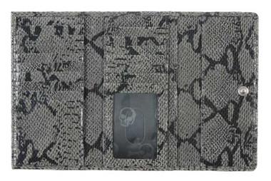JENTOU Women's Beatrice Python Print 7 in. Leather Tri-Fold Wallet JT8365-GRYBLK - Wisconsin Harley-Davidson