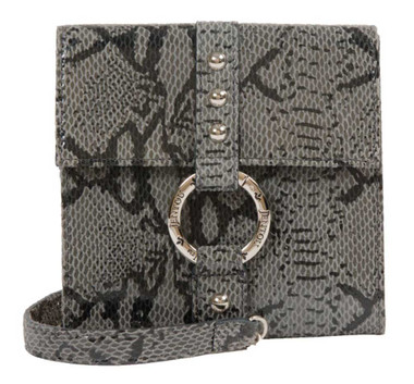 JENTOU Women's Jeanine Python Print Leather Crossbody Purse JT8351-GRYBLK - Wisconsin Harley-Davidson