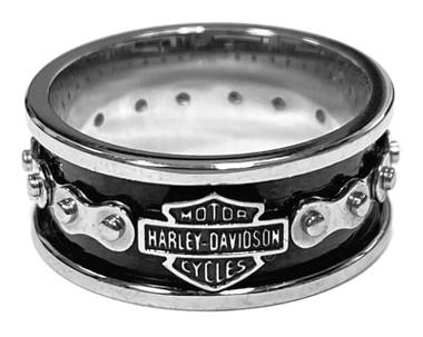 Harley-Davidson Men's Bike Chain Bar & Shield Stainless Steel Ring HSR0023 - Wisconsin Harley-Davidson