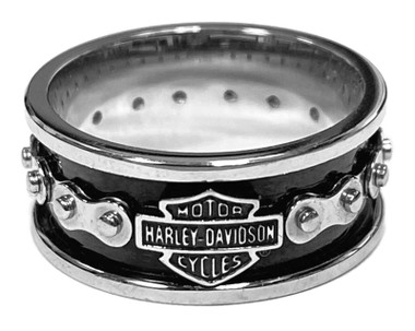 Harley-Davidson Men's Bike Chain Bar & Shield Stainless Steel Ring HSR0023 - Wisconsin Harley-Davidson