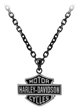 Harley-Davidson Men's Black Edge Bar & Shield Emblem Chain Necklace HSN0054-24 - Wisconsin Harley-Davidson