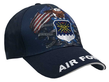 American Mills Embroidered Air Force Adjustable Baseball Cap- Blue & Navy FH-15 - Wisconsin Harley-Davidson