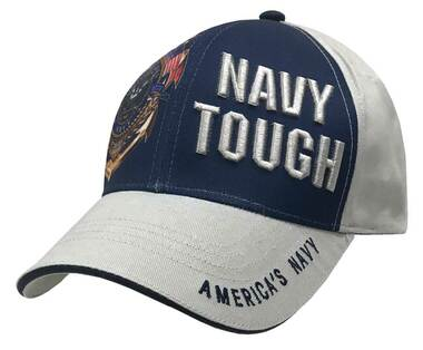 American Mills Embroidered Navy Tough Adjustable Baseball Cap- Gray & Navy FH-14 - Wisconsin Harley-Davidson