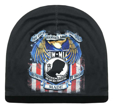 American Mills Distressed POW-MIA Graphic Knit Beanie Cap w/ Black Fleece ER-8 - Wisconsin Harley-Davidson