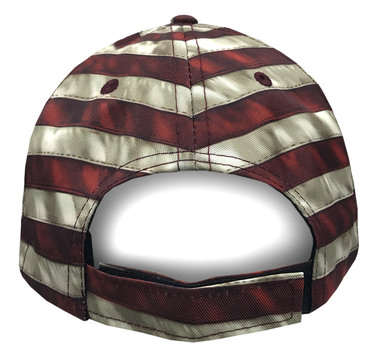 American Mills Vintage American Flag Adjustable Baseball Cap w/ Navy Bill AFH-01 - Wisconsin Harley-Davidson