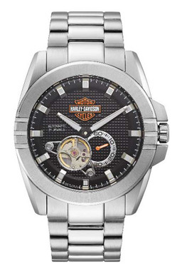 Harley-Davidson Men's Automatic Throttle Stainless Steel Watch, Silver 76A166 - Wisconsin Harley-Davidson