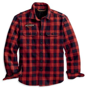 Harley-Davidson Men's Sherpa Lined Long Sleeve Plaid Shirt Jacket 96111-20VM - Wisconsin Harley-Davidson