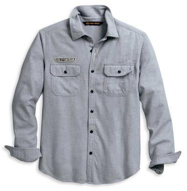 Harley-Davidson Men's Double Layer Felt Logo Long Sleeve Shirt 96109-20VM - Wisconsin Harley-Davidson