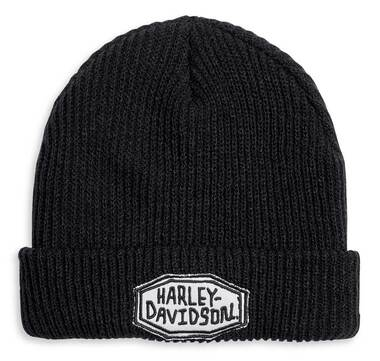 Harley-Davidson Men's Embroidered Patch Cuffed Knit Beanie Cap, Black 97610-20VM - Wisconsin Harley-Davidson