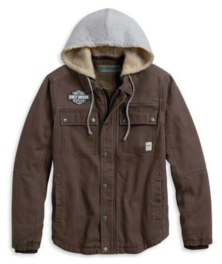 Harley-Davidson Men's Zip-Off Hood Workwear Casual Jacket, Brown 97413-20VM - Wisconsin Harley-Davidson
