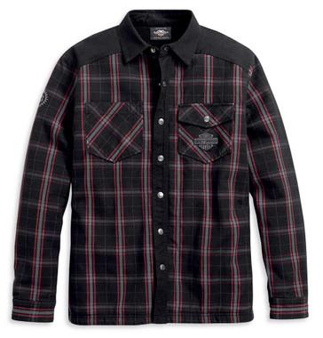 Harley-Davidson Men's Sherpa Fleece Lined Plaid Shirt Jacket, Black 96112-20VM - Wisconsin Harley-Davidson