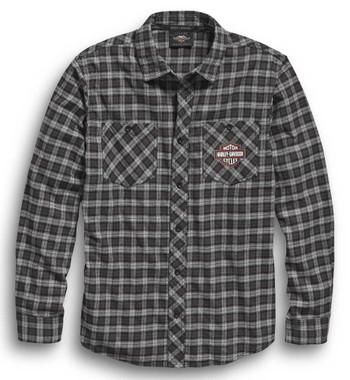 Harley-Davidson Men's B&S Logo Plaid Long Sleeve Woven Shirt 96450-20VM - Wisconsin Harley-Davidson
