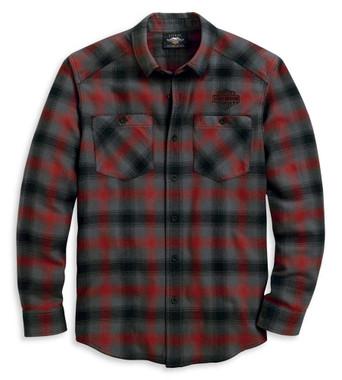 Harley-Davidson Men's Herringbone Long Sleeve Plaid Woven Shirt 96122-20VM - Wisconsin Harley-Davidson