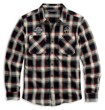 Harley-Davidson Men's HDMC Plaid Slim Fit Long Sleeve Woven Shirt 96106-20VM - Wisconsin Harley-Davidson