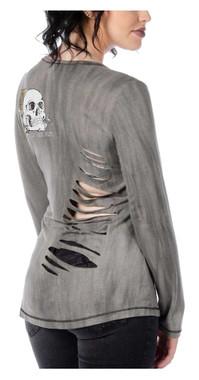 Liberty Wear Women's Long Live Brave The Skull Long Sleeve V-Neck Shirt, Gray - Wisconsin Harley-Davidson