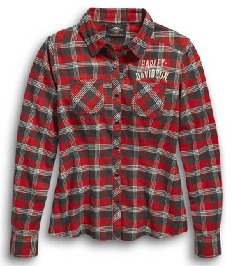 Harley-Davidson Women's Since 1903 Plaid Flannel Long Sleeve Shirt 96454-20VW - Wisconsin Harley-Davidson