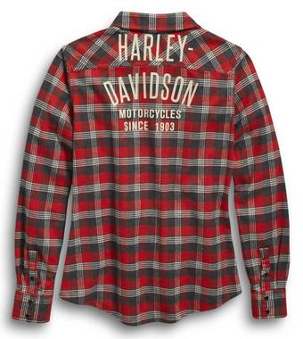 Harley-Davidson Women's Since 1903 Plaid Flannel Long Sleeve Shirt 96454-20VW - Wisconsin Harley-Davidson
