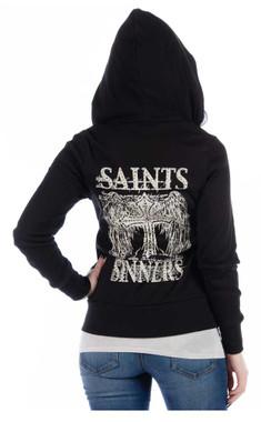 Liberty Wear Women's Saints & Sinners Embellished Stones Zip-Up Hoodie, Black - Wisconsin Harley-Davidson