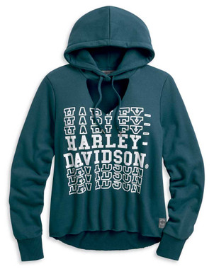Harley-Davidson Women's Cut-Out V-Neck Pullover Hoodie, Blue 96208-20VW - Wisconsin Harley-Davidson