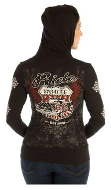 Liberty Wear Women's Vintage Kicks on Route 66 Embellished Zip-Up Hoodie, Black - Wisconsin Harley-Davidson