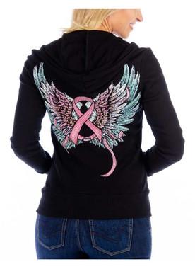 Liberty Wear Women's Pink Ribbon & Wings Embellished Zip-Up Hoodie, Black - Wisconsin Harley-Davidson