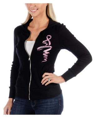 Liberty Wear Women's Pink Ribbon & Wings Embellished Zip-Up Hoodie, Black - Wisconsin Harley-Davidson
