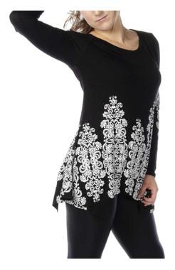 Liberty Wear Women's Ornate Scrolls Long Sleeve Shirt w/ Sharktail Hem, Black - Wisconsin Harley-Davidson