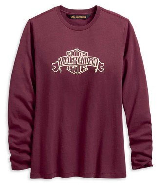 Harley-Davidson Women's Distressed Banner Long Sleeve Tee, Burgundy 96187-20VW - Wisconsin Harley-Davidson