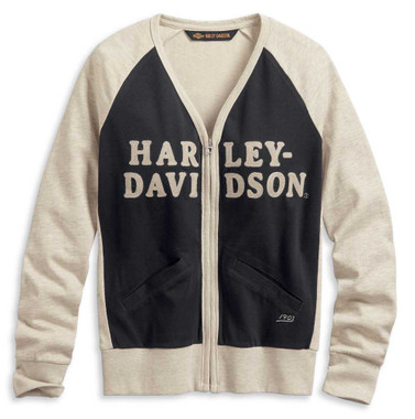 Harley-Davidson Women's Chain Stitch Colorblocked Cardigan, Off White 96172-20VW - Wisconsin Harley-Davidson
