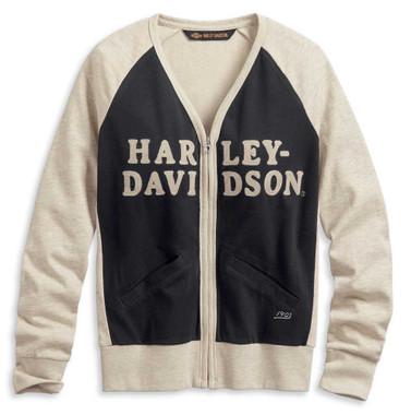 Harley-Davidson Women's Chain Stitch Colorblocked Cardigan, Off White 96172-20VW - Wisconsin Harley-Davidson