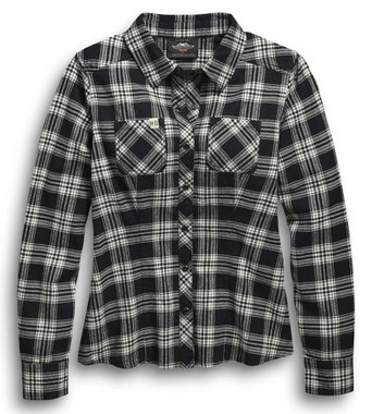 Harley-Davidson Women's #1 Plaid Flannel Long Sleeve Shirt, Black 96456-20VW - Wisconsin Harley-Davidson