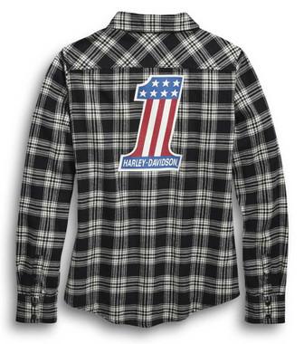 Harley-Davidson Women's #1 Plaid Flannel Long Sleeve Shirt, Black 96456-20VW - Wisconsin Harley-Davidson