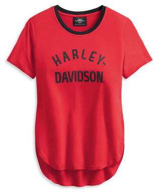 Harley-Davidson Women's Distressed H-D One Short Sleeve Tee - Red 96195-20VW - Wisconsin Harley-Davidson
