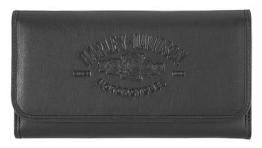 Harley-Davidson Women's Wicked Roses Tri-Fold Wallet w/ RFID - Black HDWWA11683 - Wisconsin Harley-Davidson