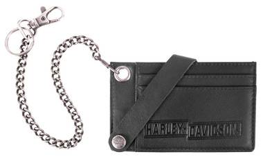 Harley-Davidson Men's Drag Race CC Case w/Wallet Chain, Black Leather HDMWA11674 - Wisconsin Harley-Davidson