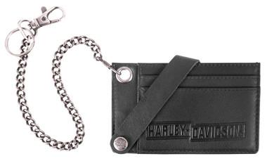 Harley-Davidson Men's Drag Race CC Case w/Wallet Chain, Black Leather HDMWA11674 - Wisconsin Harley-Davidson