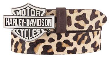 Harley-Davidson Women's Wild Night Out Leopard Print Leather Belt HDWBT11700 - Wisconsin Harley-Davidson