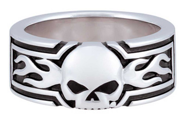 Harley-Davidson Men's Flaming Willie G Skull Ring, Sterling Silver HDR0536 - Wisconsin Harley-Davidson