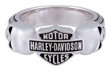 Harley-Davidson Men's Wicked Skulls Bar & Shield Ring, Sterling Silver HDR0534 - Wisconsin Harley-Davidson