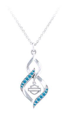 Harley-Davidson Women's Interlock Blue Bling Stone Necklace, Silver HDN0465-16 - Wisconsin Harley-Davidson