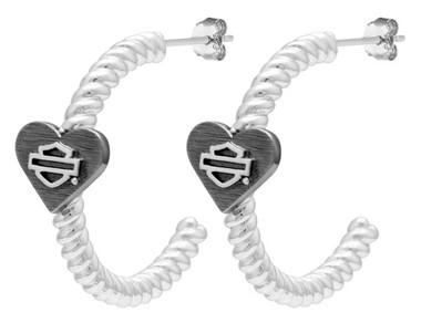Harley-Davidson Women's B&S Black Heart Hoop Earrings, Sterling Silver HDE0547 - Wisconsin Harley-Davidson