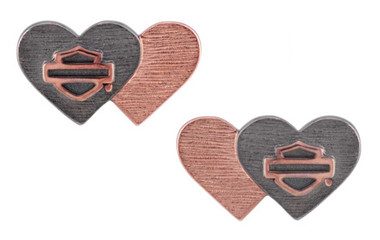 Harley-Davidson Women's Pink & Black Double Heart B&S Post Earrings HDE0546 - Wisconsin Harley-Davidson