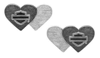 Harley-Davidson Women's Black & Silver Double Heart B&S Post Earrings HDE0545 - Wisconsin Harley-Davidson