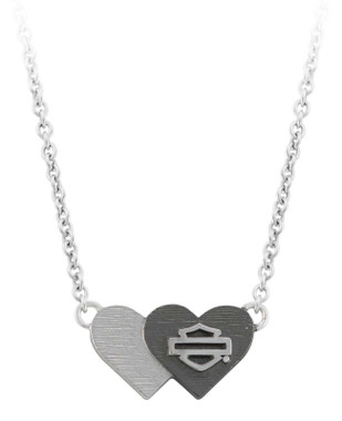Harley-Davidson Women's Black & Silver Double Heart B&S Necklace HDN0460-16 - Wisconsin Harley-Davidson