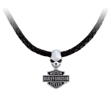 Harley-Davidson Men's Wicked Skull Bar & Shield Leather Necklace HDN0462-22 - Wisconsin Harley-Davidson