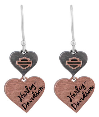 Harley-Davidson Women's Pink & Black Double Heart B&S Drop Earrings HDE0550 - Wisconsin Harley-Davidson