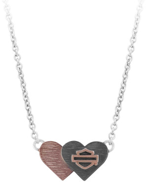 Harley-Davidson Women's Pink & Black Double Heart B&S Necklace HDN0461-16 - Wisconsin Harley-Davidson